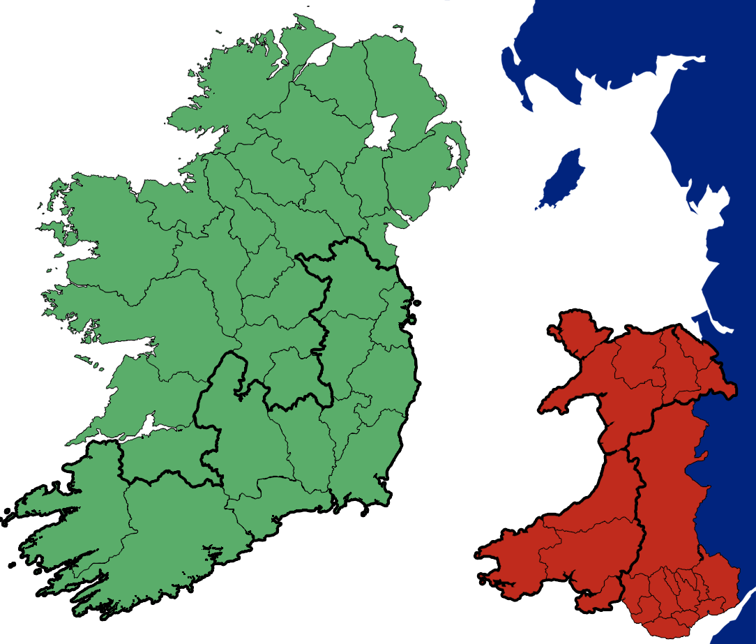 Ireland and Wales County Map